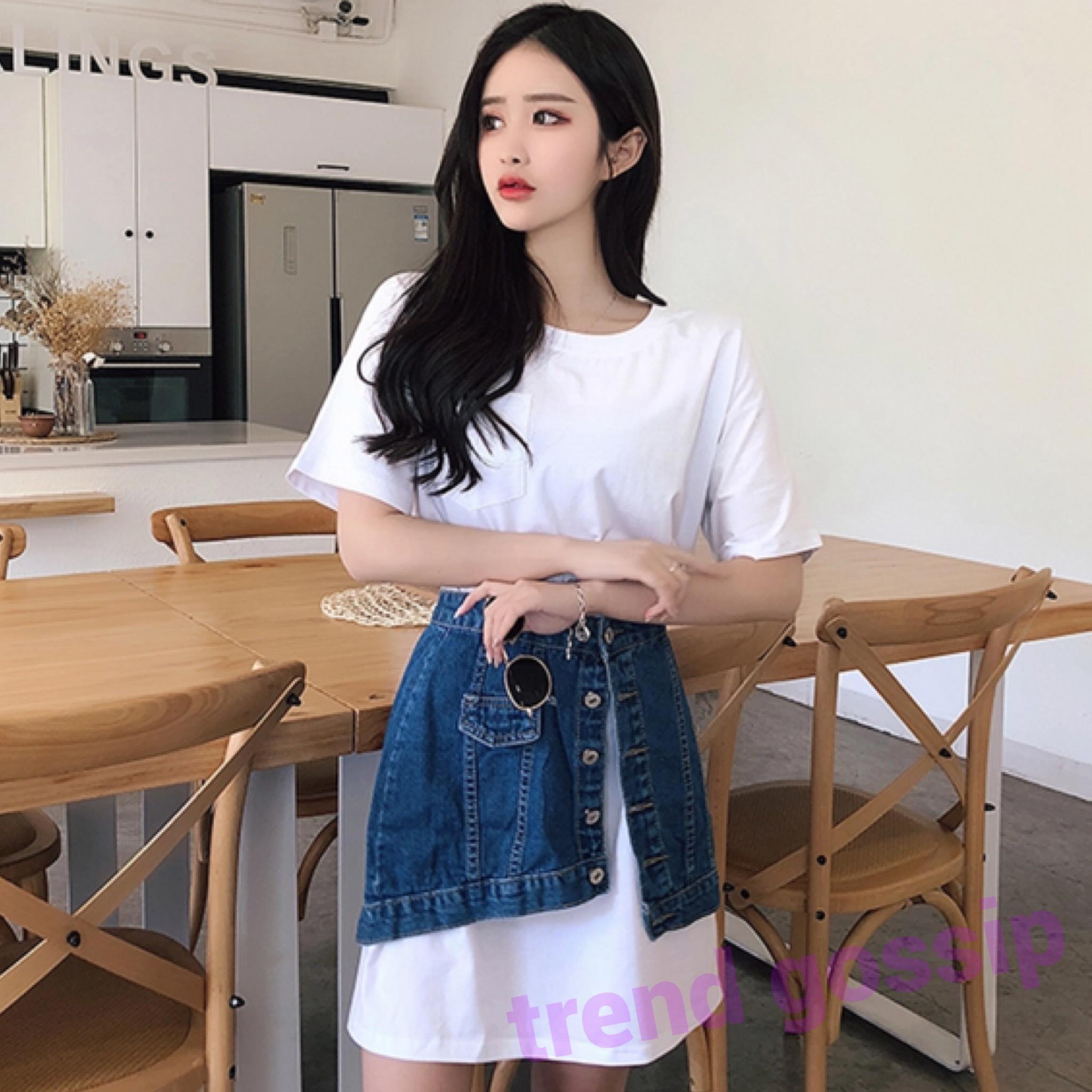 【S即納】BigTシャツ &アシンメトリーデニムスカートセットコーデ/S〜XXL