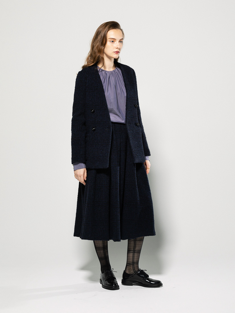 tweed no-collar jacket