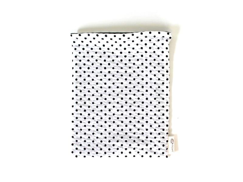 ハリネズミ用寝袋 M(夏用) 綿リップル×スムースニット ドット ホワイト 【販売終了】