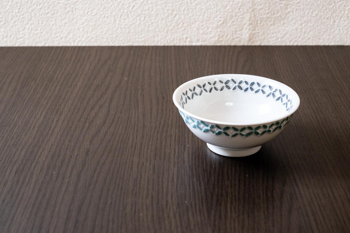 磁器お茶碗【七宝紋/グレー×グリーン】