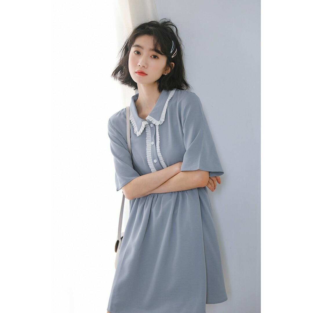 【送料無料】フリル縁襟 ひざ丈 五分袖 ワンピース B19060301