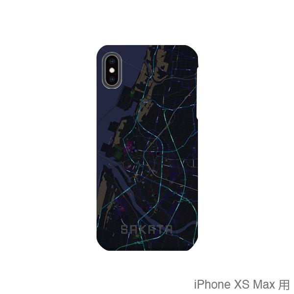 【酒田】地図柄iPhoneケース(バックカバータイプ・ブラック)