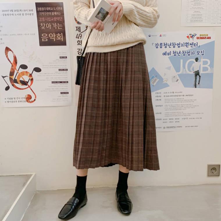 【送料無料】 大人なレトロガーリー♡ 秋冬カラー チェック柄 プリーツ ロング スカート Aライン