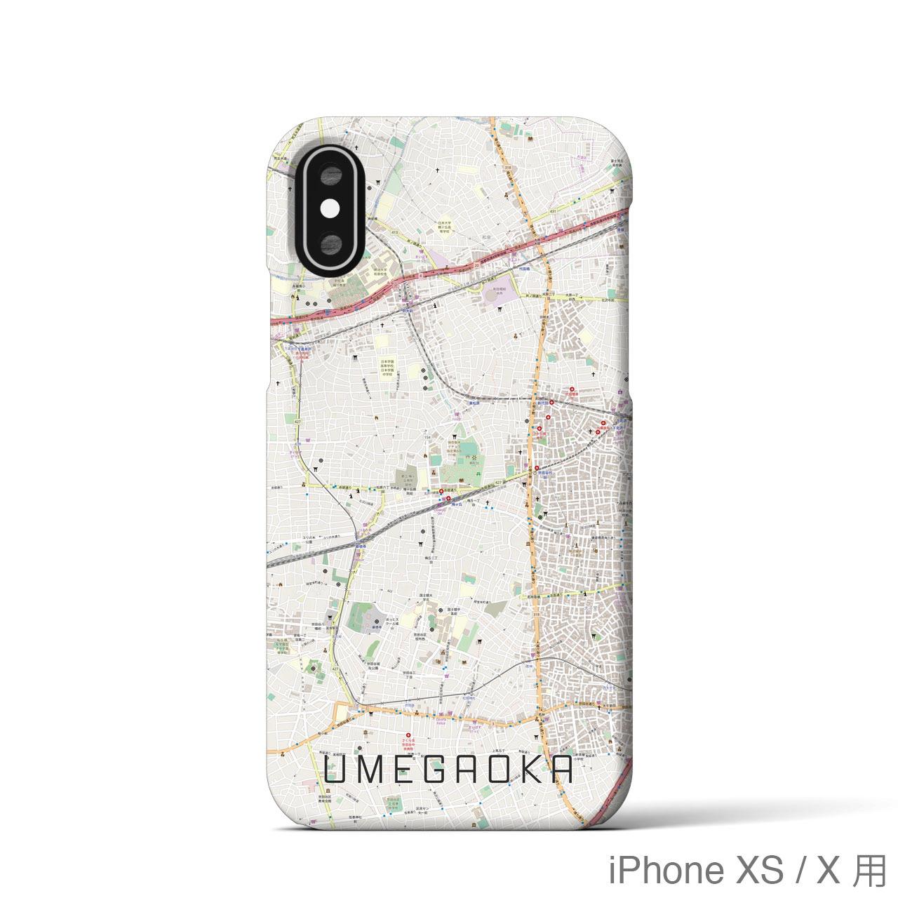 【梅ヶ丘】地図柄iPhoneケース(バックカバータイプ・ナチュラル)