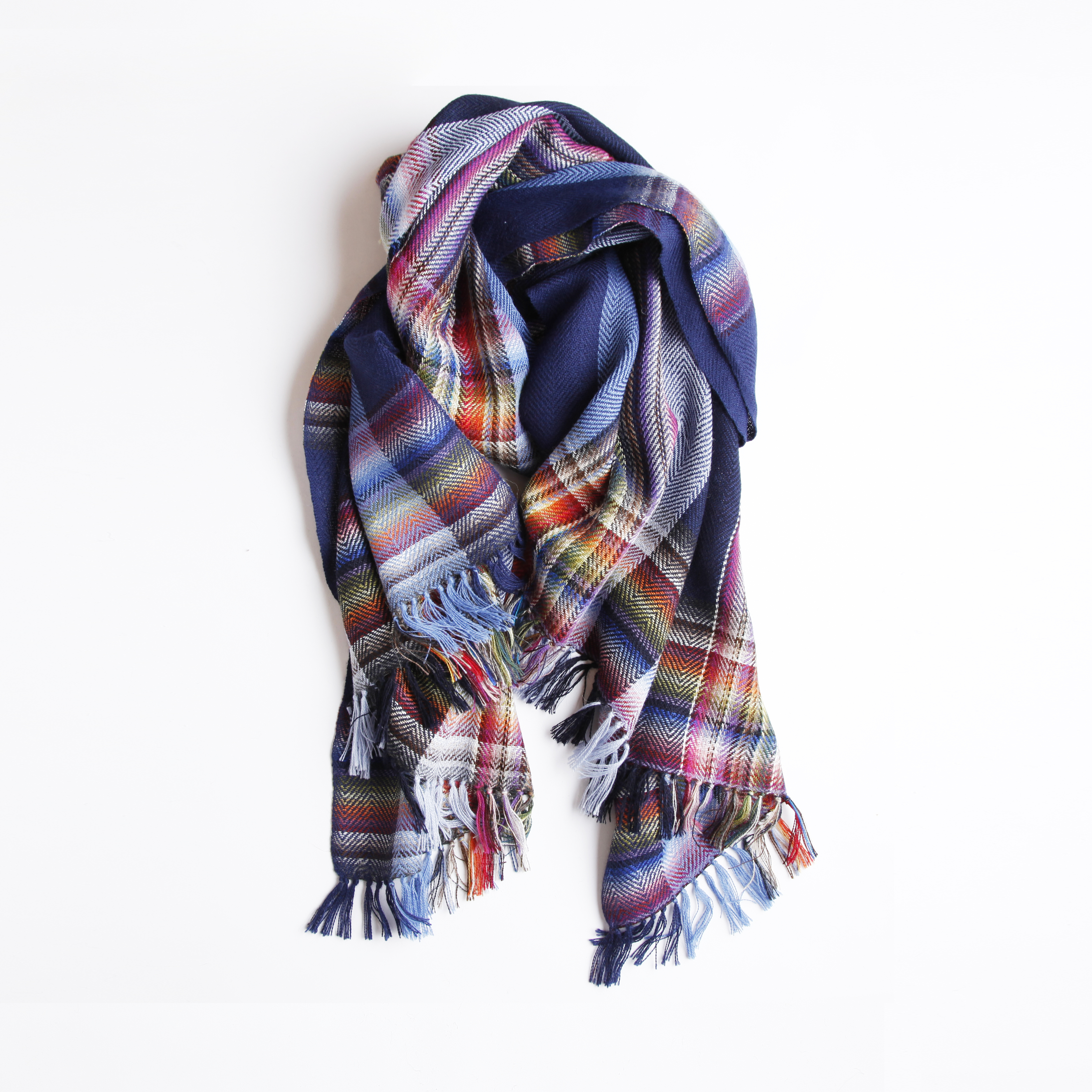 THE INOUE BROTHERS/Multi Coloured Scarf/Navy