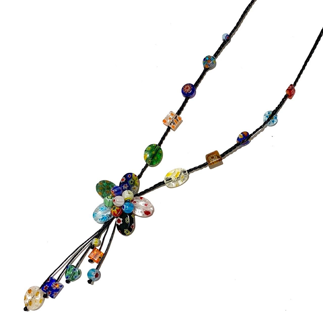 acc-036 ベネチアングラスの花ネックレス