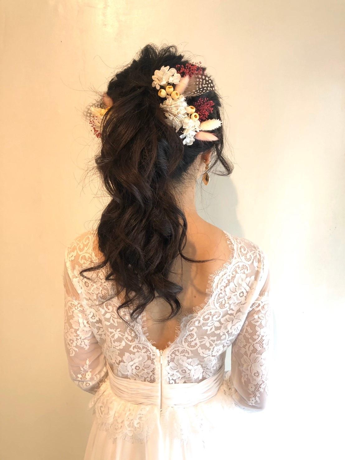 【ピンク・ホワイト/フェザー付きドライヘッドドレス】