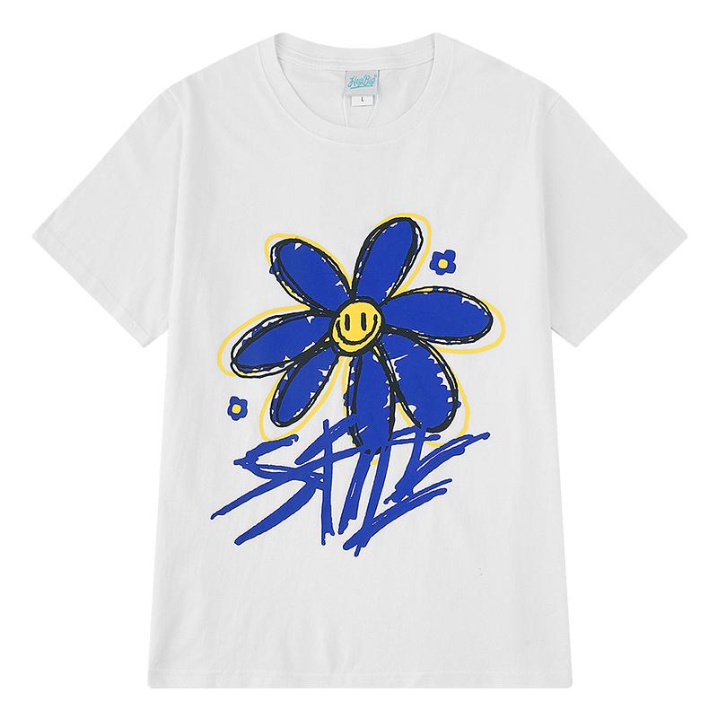 ユニセックス Tシャツ 半袖 メンズ レディース 落書き風 スマイル ニコちゃん フラワープリント オーバーサイズ 大きいサイズ ルーズ ストリート
