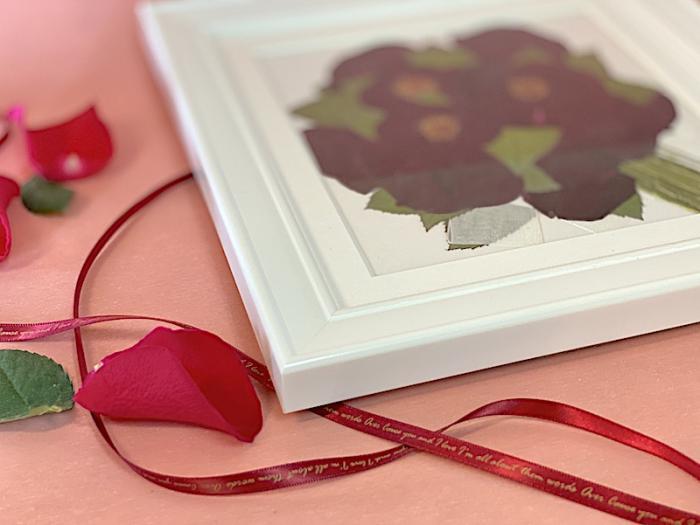 赤バラの押し花ブーケ
