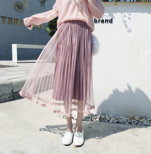 【送料無料】ふんわりプリーツスカート♡ ミモレ丈 チュール フェザー 4カラー
