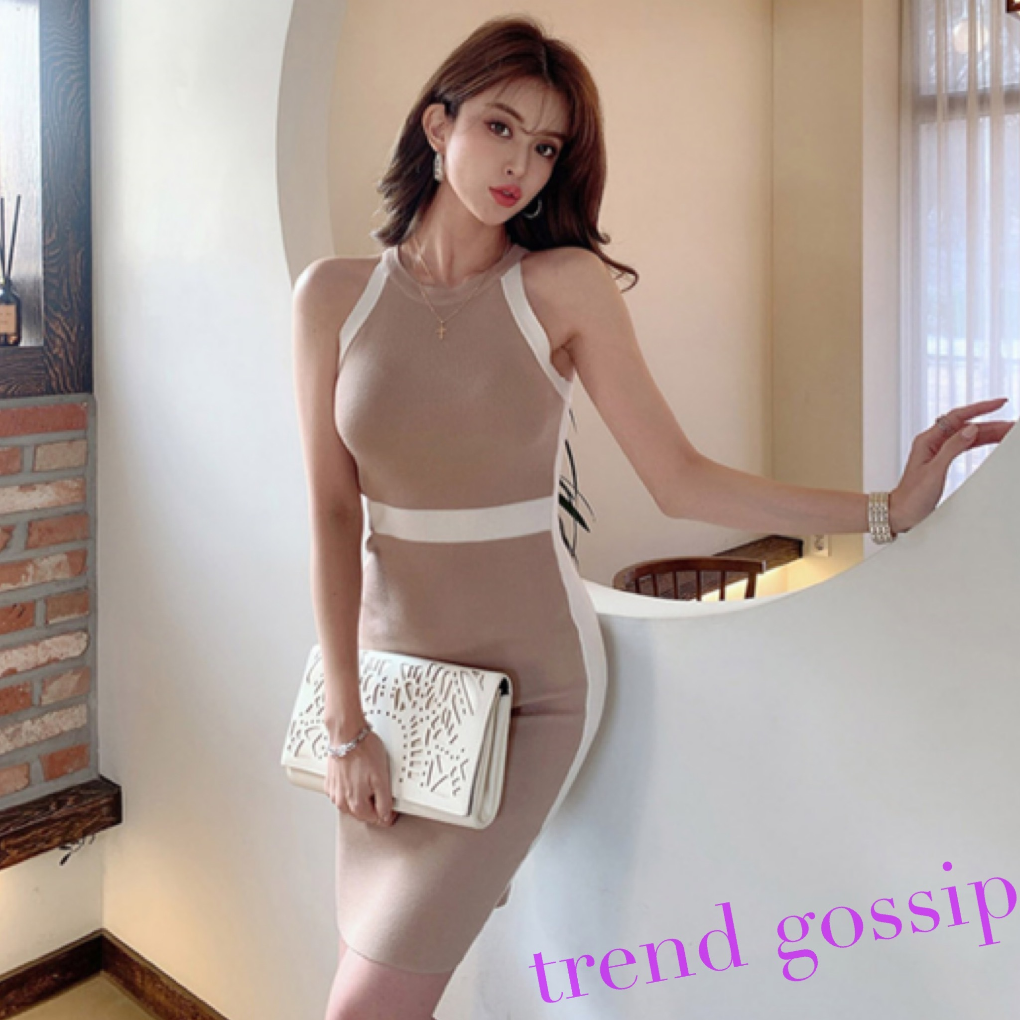 ハイネックホワイトラインリブタイトドレス/ワンピース/ワンサイズ/2020SS