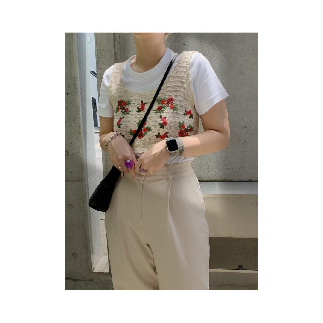 【asyu】 flower knit bustier