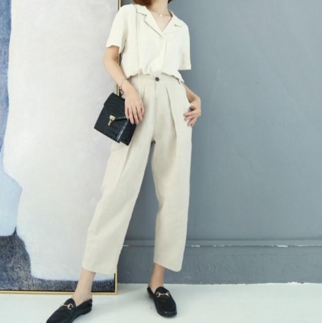 夏新作 パンツ 9部丈 普段使い 通勤着 合わせやすい チェック 大人女性
