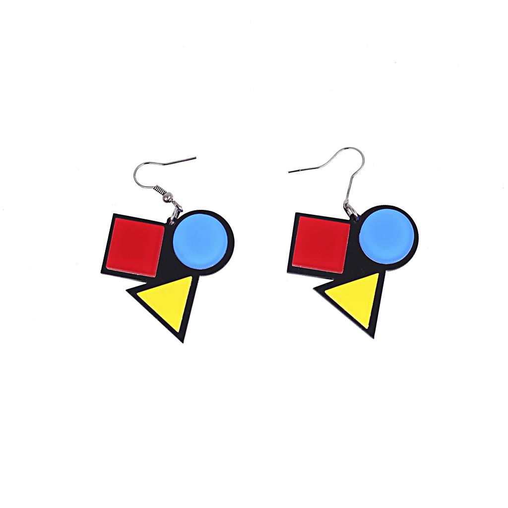 IUHA 【ユニークシリーズ】幾何学 ピアス マルチカラー おしゃれ エレガント 耳飾り パーティー ジュエリー   iuha1991710045