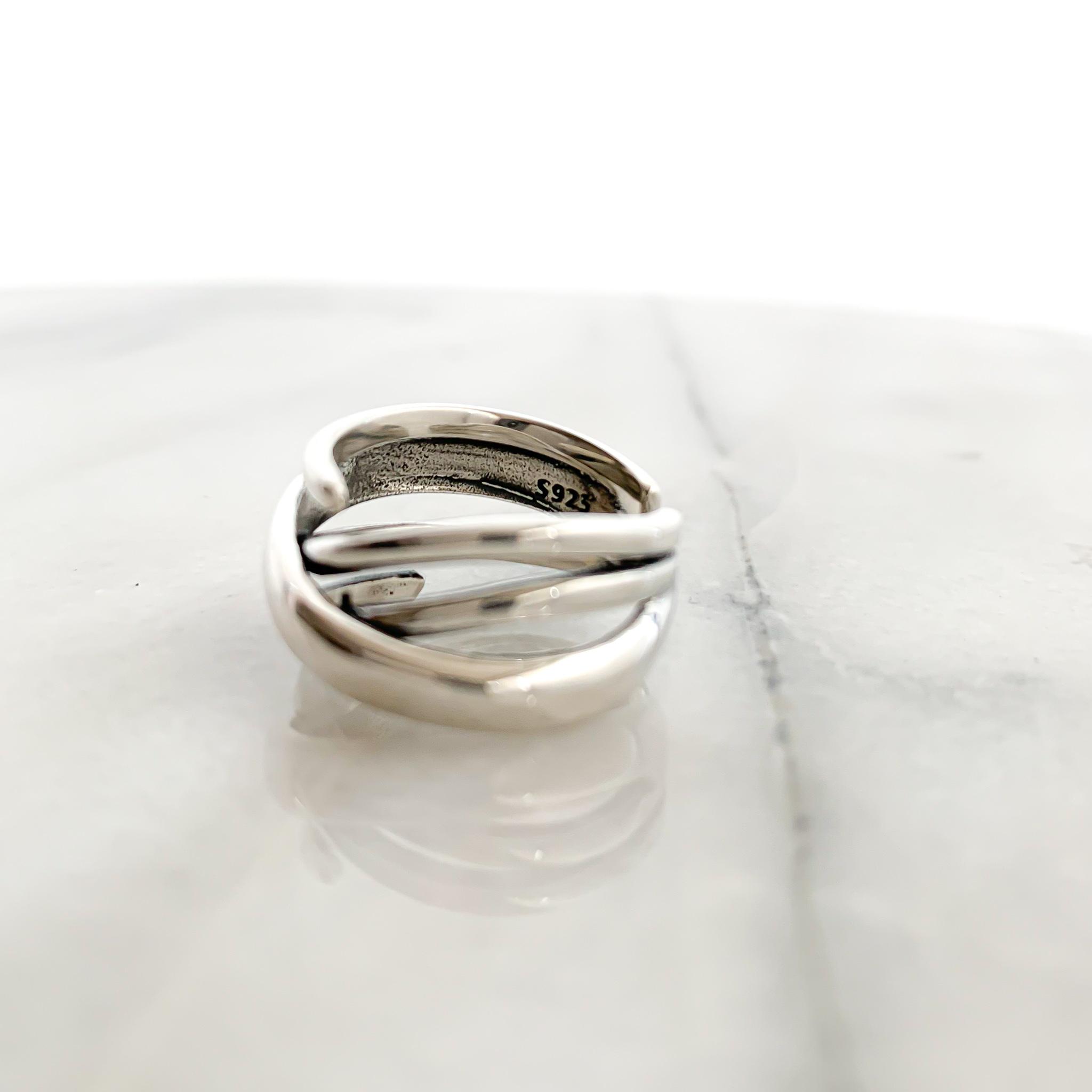 Silver925 Cross line wide ring