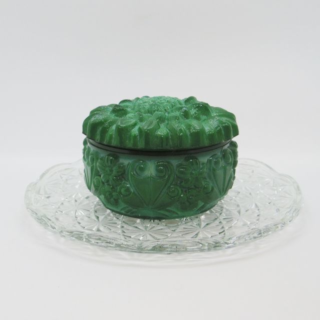 ボヘミアガラスの小物入れ::: ひまわり(緑)