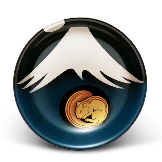手塩皿 溜塗 銀の富士山~命を見守る~(47)