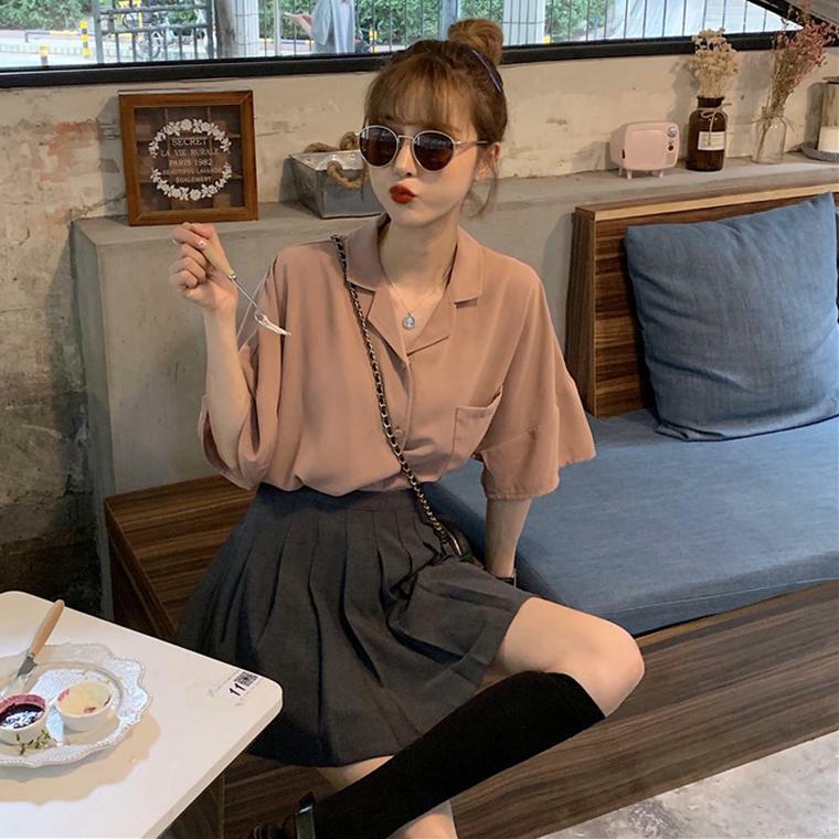 【送料無料】 くすみカラー ♡ 2点セット セットアップ 秋色 開襟シャツ × プリーツスカート