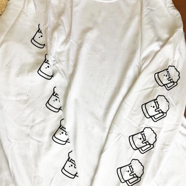 ビール ロングスリーブTシャツ(白) - 画像4