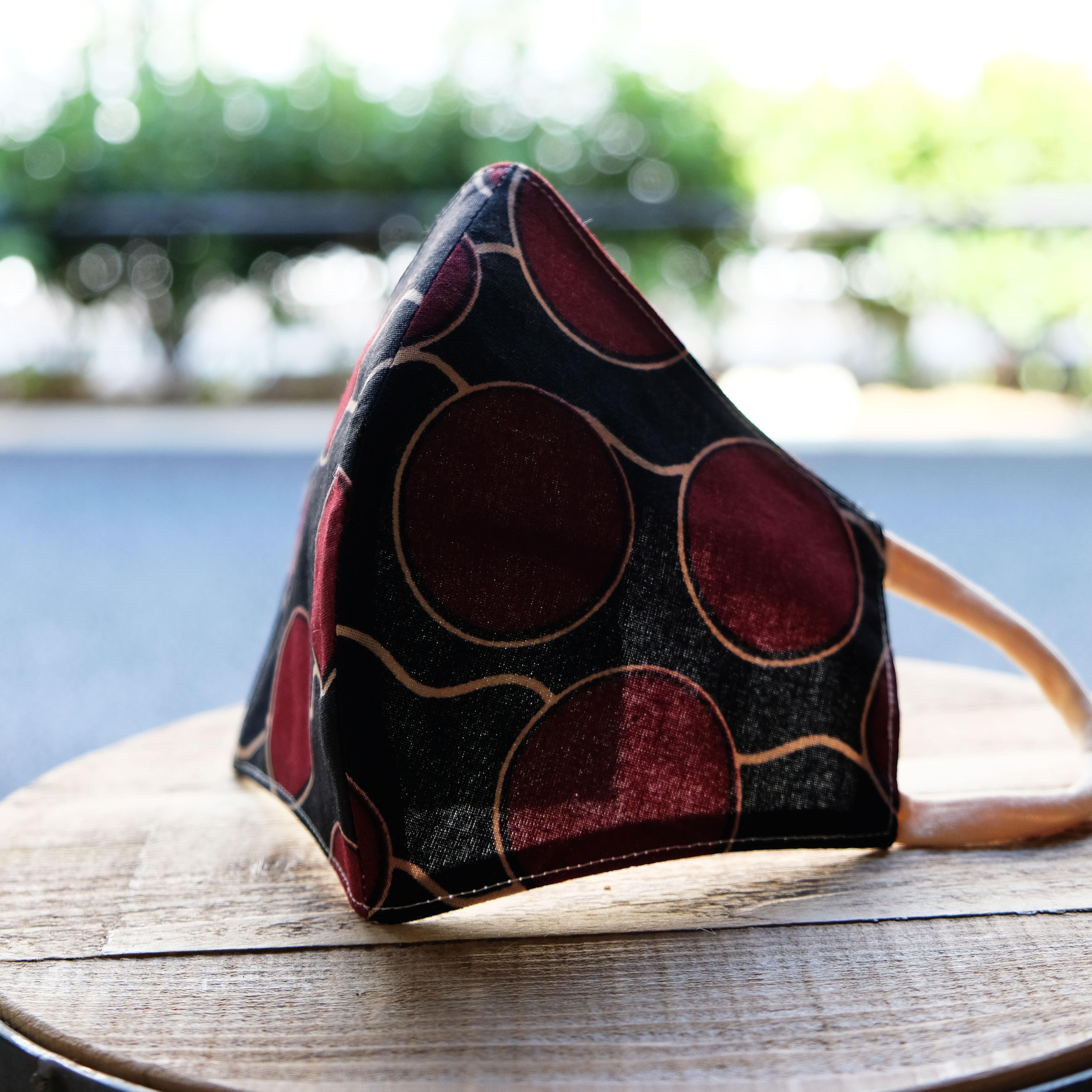 アフリカ布で作った銅繊維シート入りマスク/トンボ