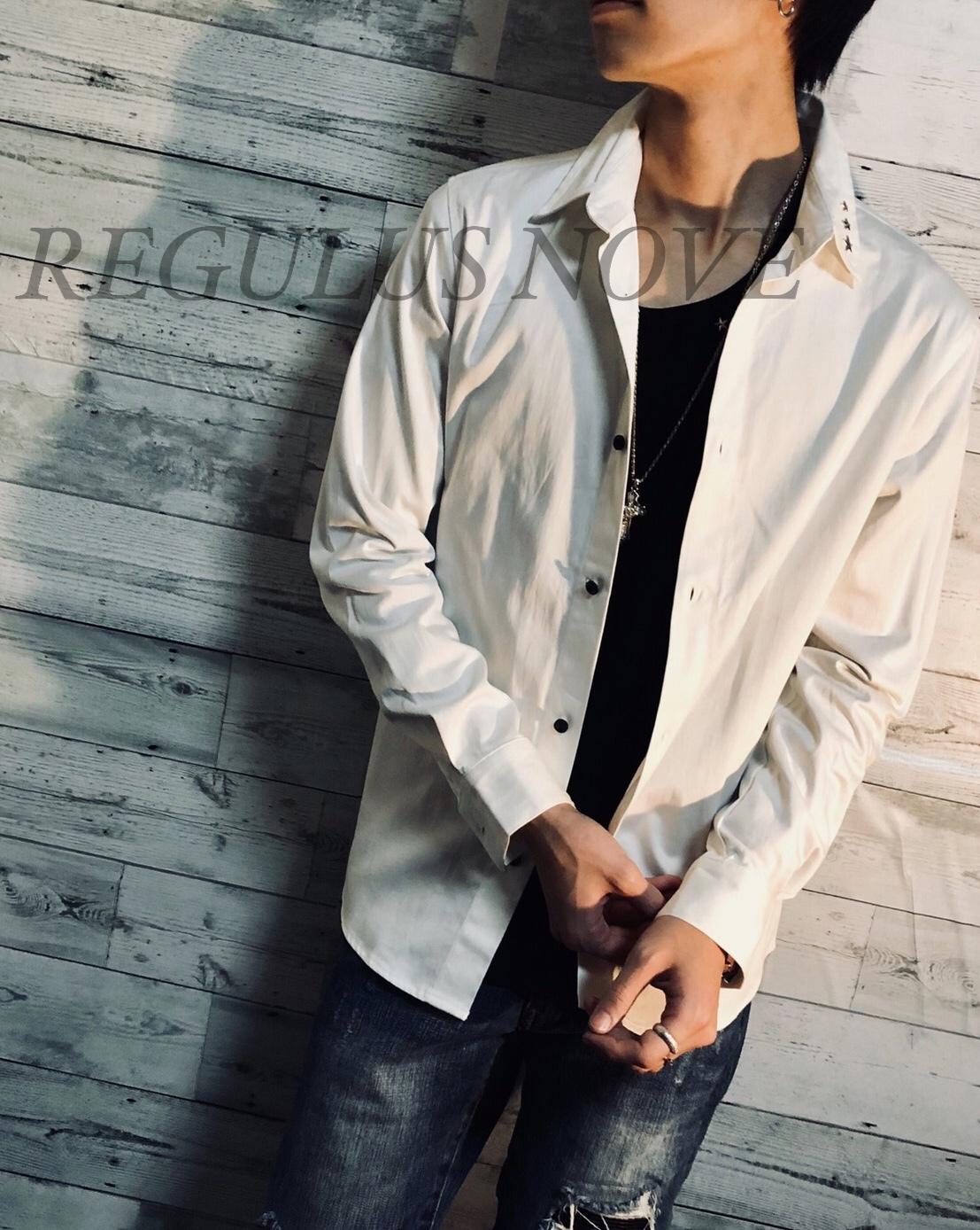 REGULUS NOVE ポイントスターストレッチブロードシャツ WHITE メンズ 男物 紳士服 細身 フォーマル カジュアル 星 スタッズ トップス