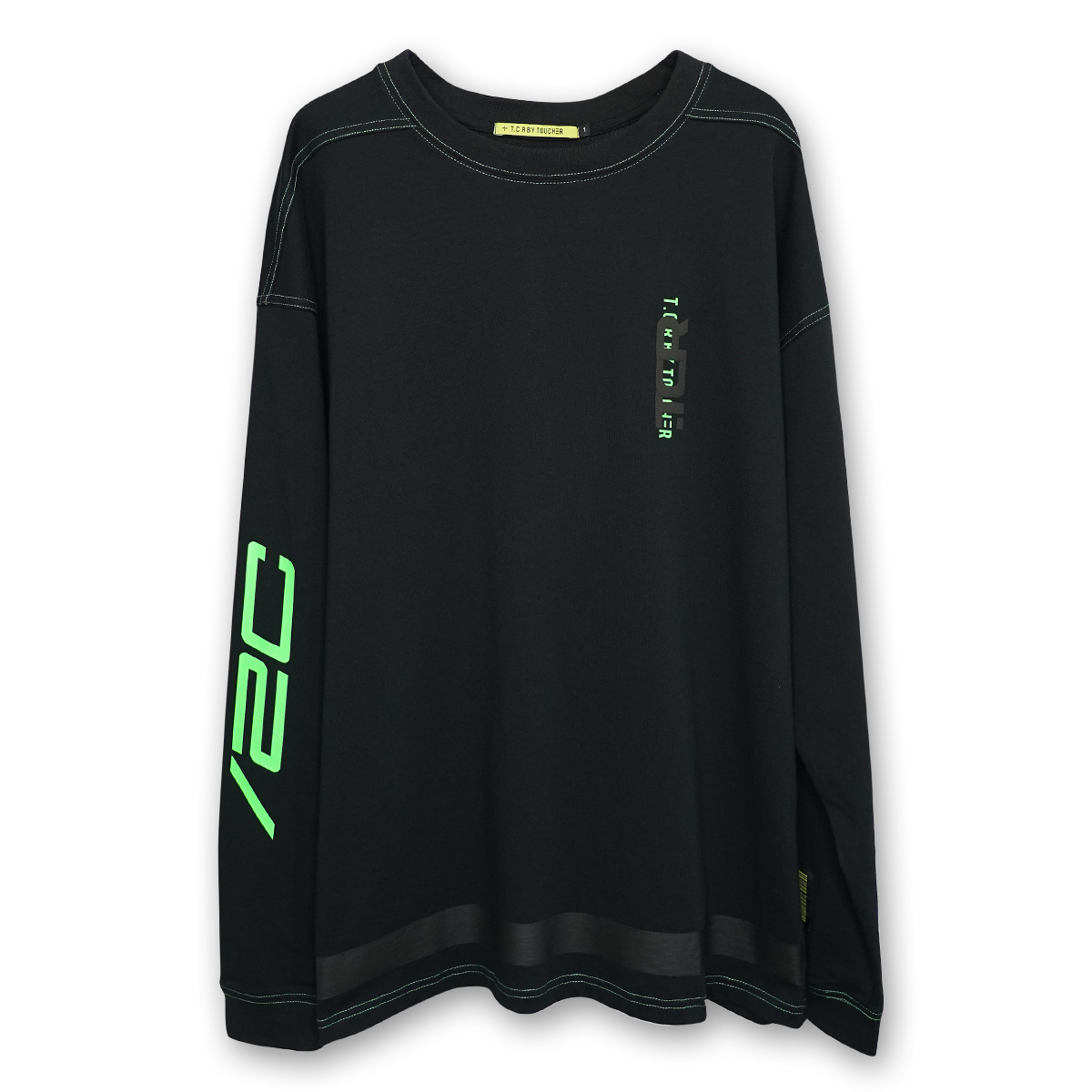 OVERSIZED SLUSH L/S TEE - BLACK/GREEN