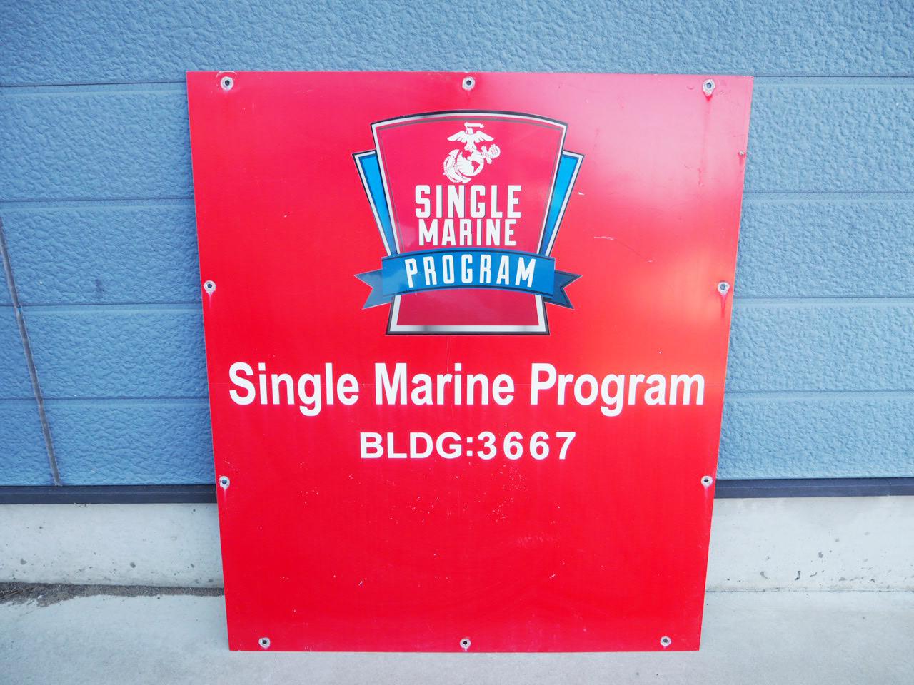 品番0150 SINGLE MARINE PROGRAM 看板 プレート アルミ製 米軍放出品 ミリタリーグッズ アメリカン ヴィンテージ