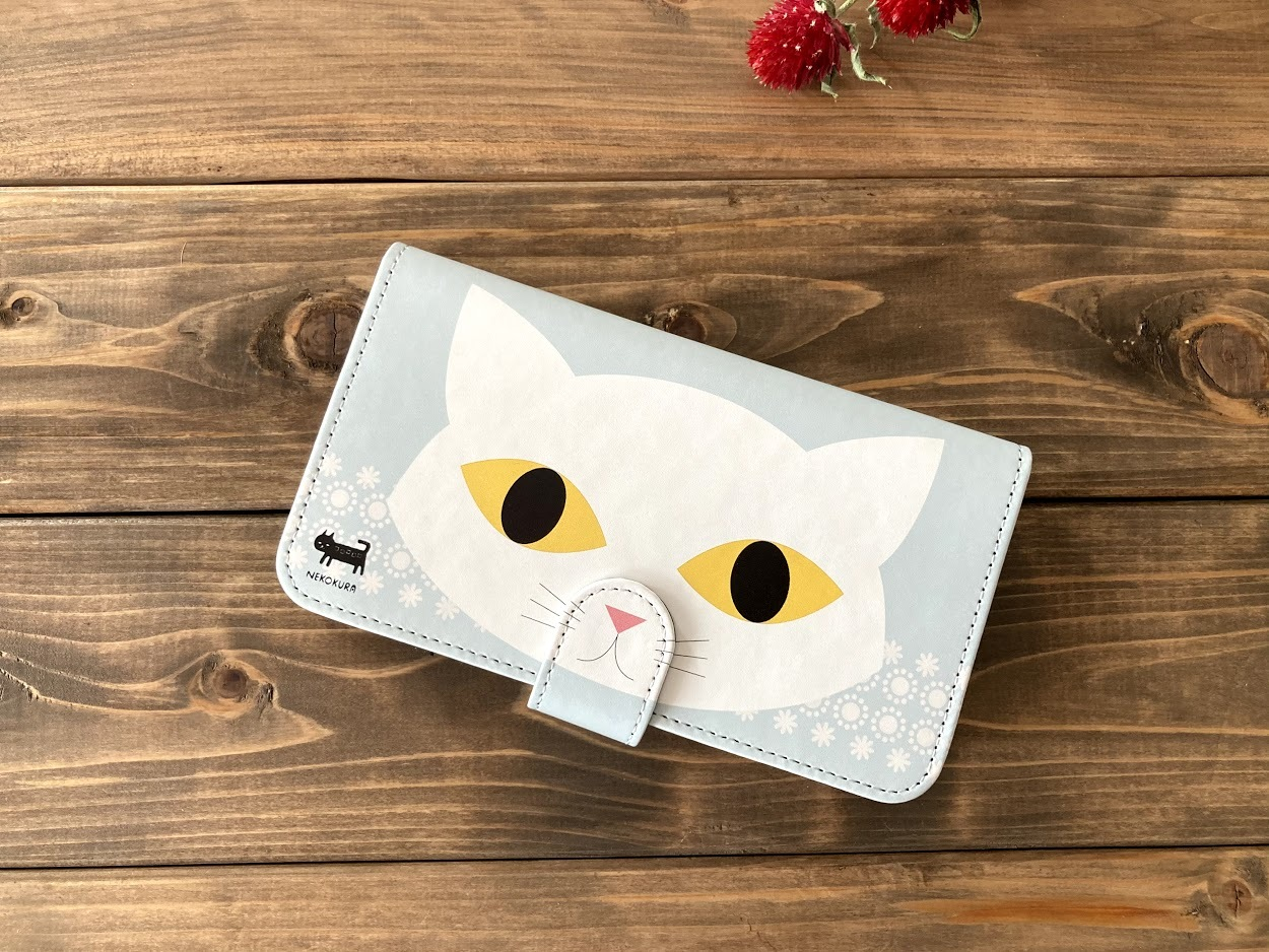 白猫 手帳型スマホケース・Lサイズ(iPhone6Plus・7Plus・8Plusなど)