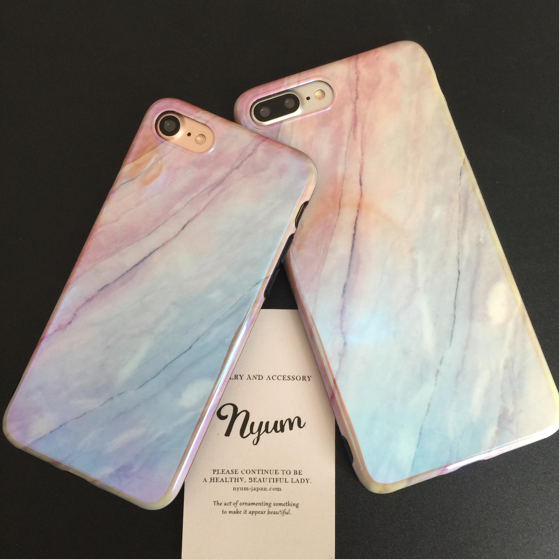 【iphone7/8/7plus/8plusバー】オーロラ加工ピンクグラデ大理石風iphoneケース 水晶 天然石