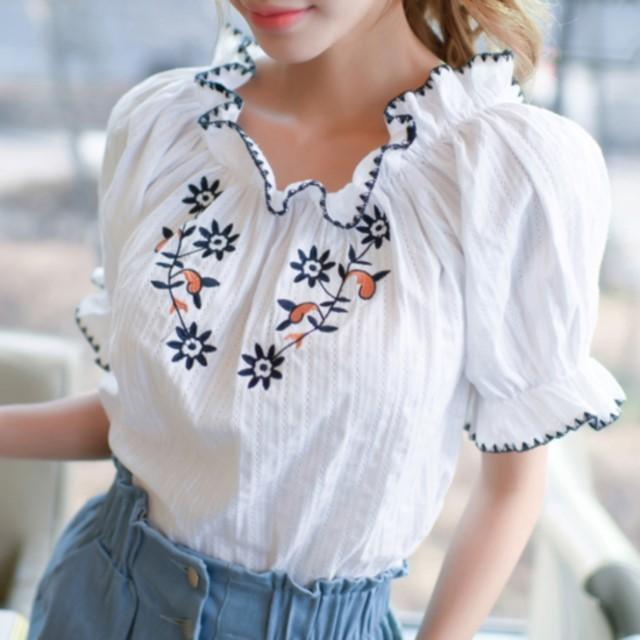 レディース☆おすすめのお品☆ 2way オフショル 花柄刺繡 キャンディースリーブ シフォン ブラウス