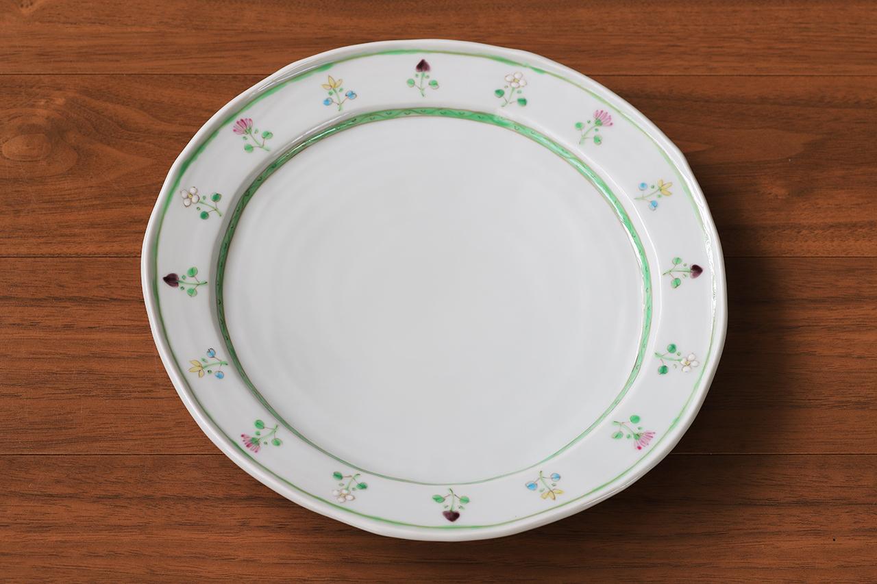藍水 花暦(緑) 8寸皿 うつわ藍水 波佐見焼 直径約25cmのプレート