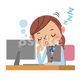イラスト素材:パソコンの前で居眠りするOL・事務職の女性(ベクター・JPG)