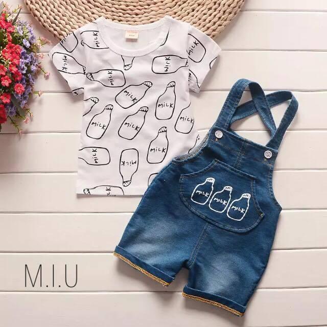 ミルク柄Tシャツ&オーバーオール #MIU532