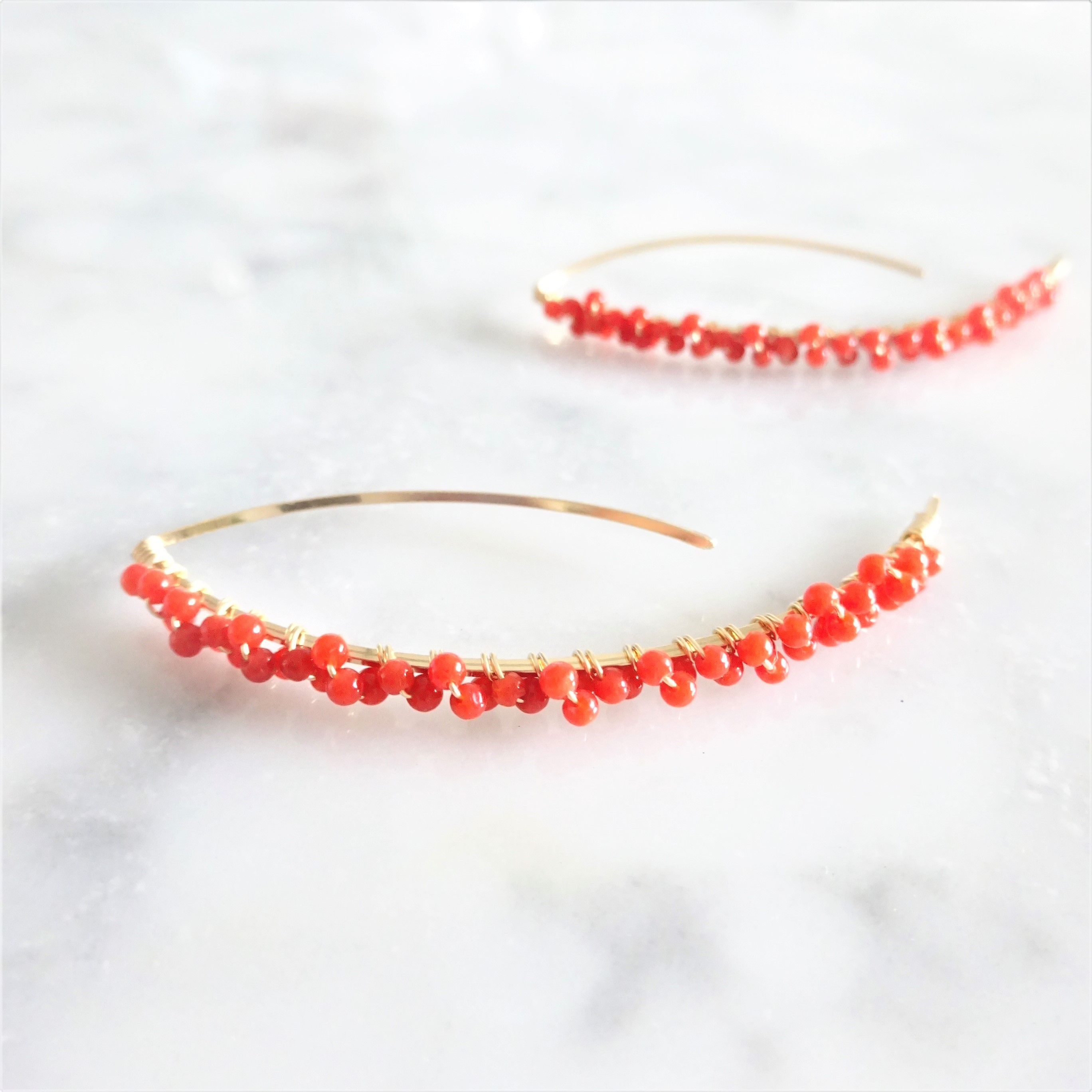 送料無料 14kgf*Red Coral from Italy marquis pierced earring
