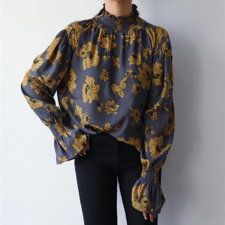 ハイネック 花柄ブラウス フリル袖 lt221