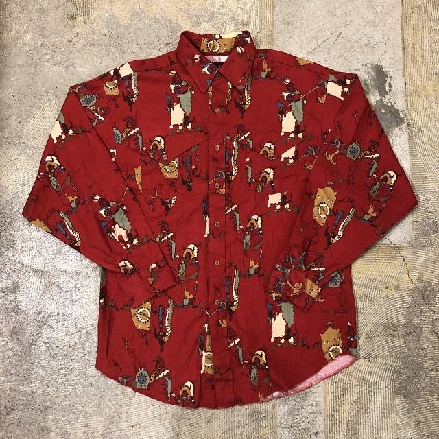 Vintage Western Print L/S Shirt