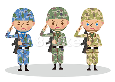 イラスト素材:多国籍な軍人のイメージ(ベクター・JPG)