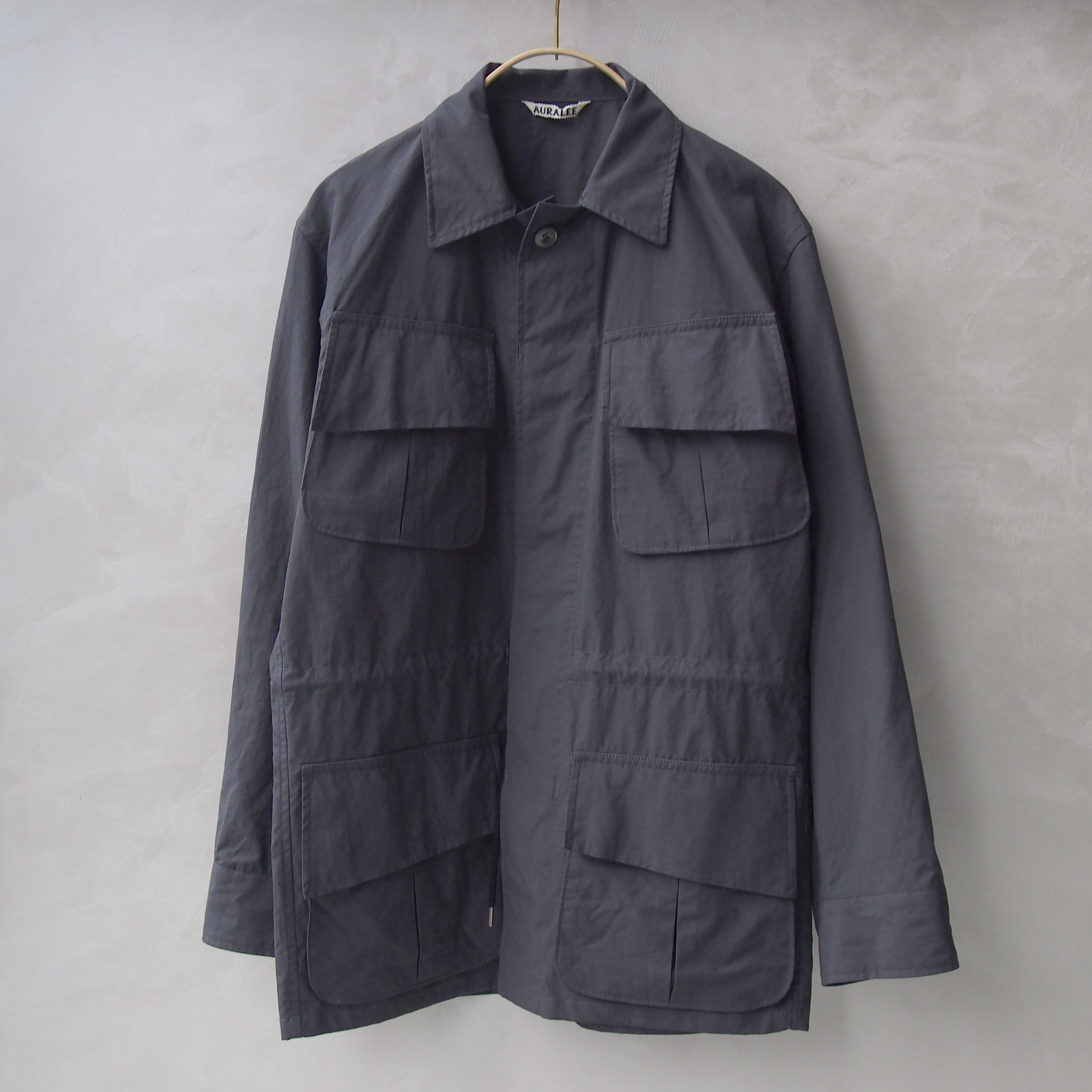 AURALEE WASHED FINX RIPSTOP FATIGUE JACKET INK BLACK
