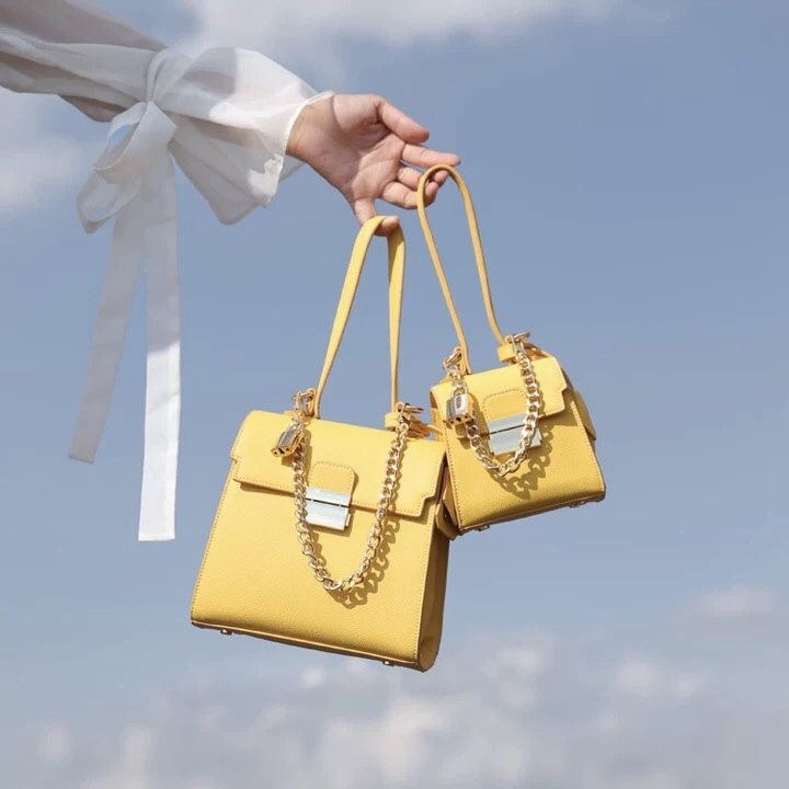 yellow chain bag