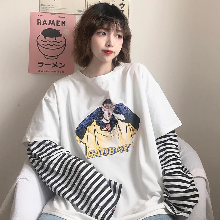 【送料無料】 メンズライク♡ ゆるだぼ カジュアル プリント ロゴ オーバーサイズ ビッグシルエット Tシャツ