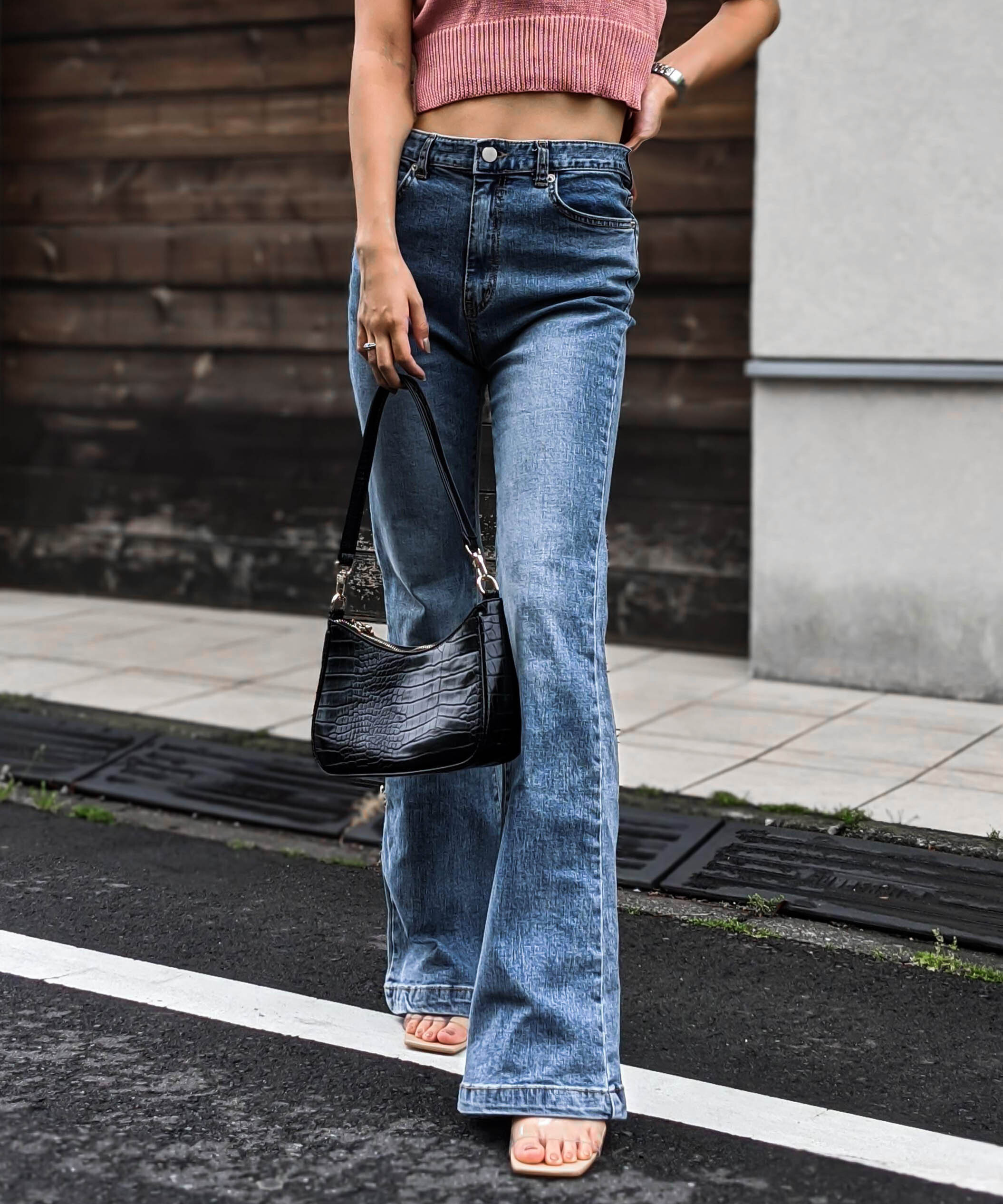 High waist wash flare denim