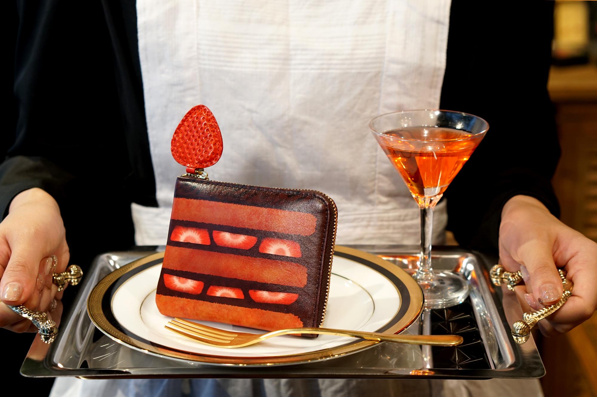 薄型!チョコレートケーキなL字ファスナーミニ財布(牛革製)