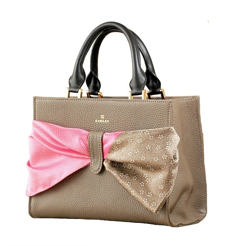 ZAWAZA オリジナルバッグ <結~Yui~> バッグ :グレージュ スカーフ:ピンク(行儀)×チョコ(梅鉢唐草)