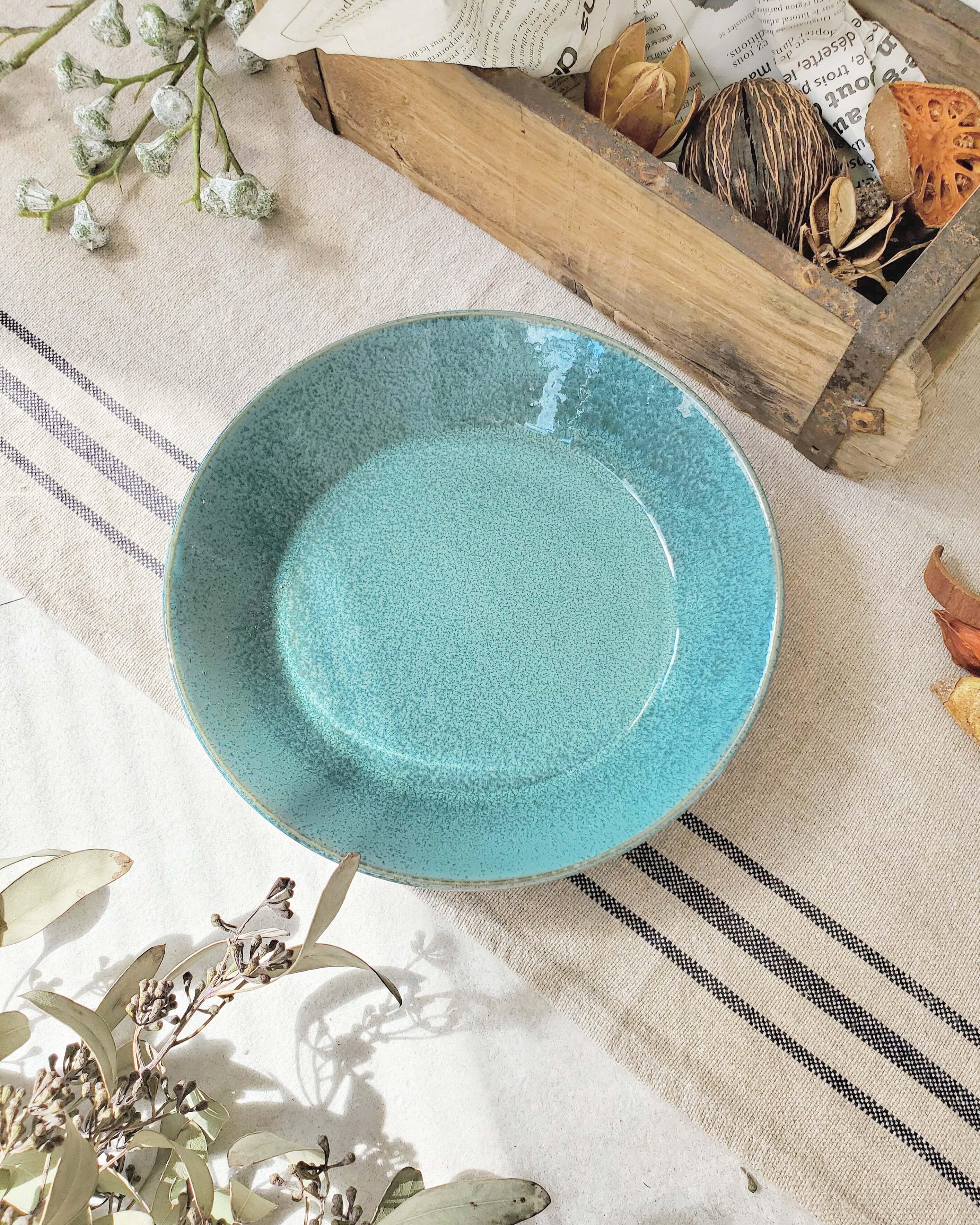 錆ブルー深皿 20,5cm