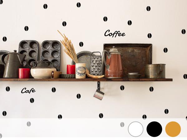 コーヒービーンズパターンウォールステッカー