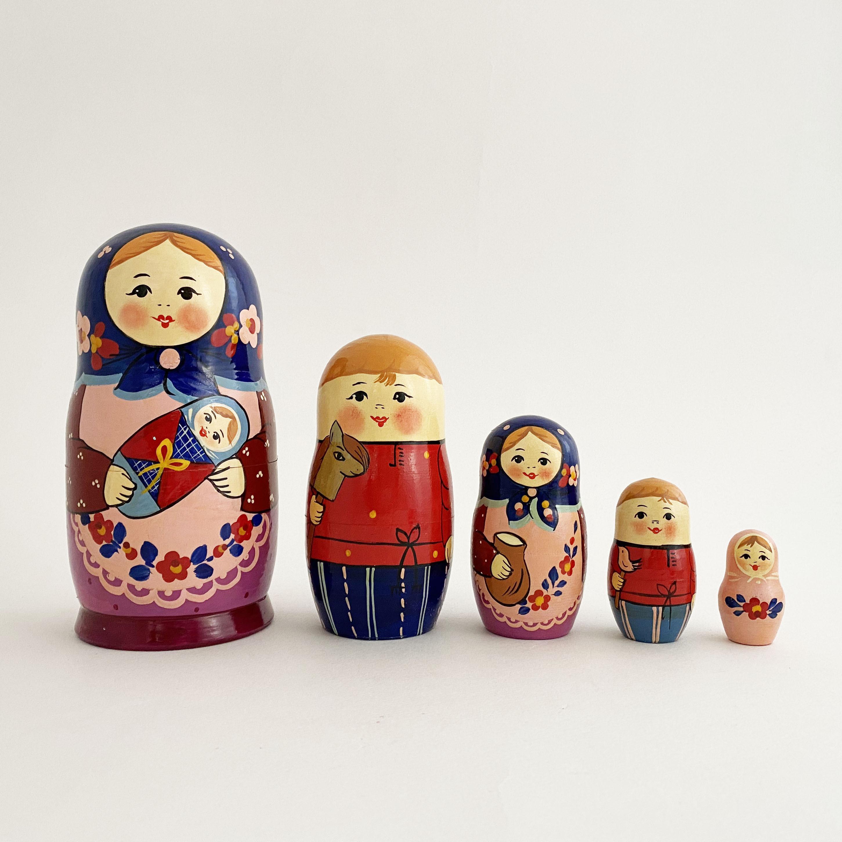 母の日のお母さんマトリョーシカ/5個組大B(セルギエフ産)