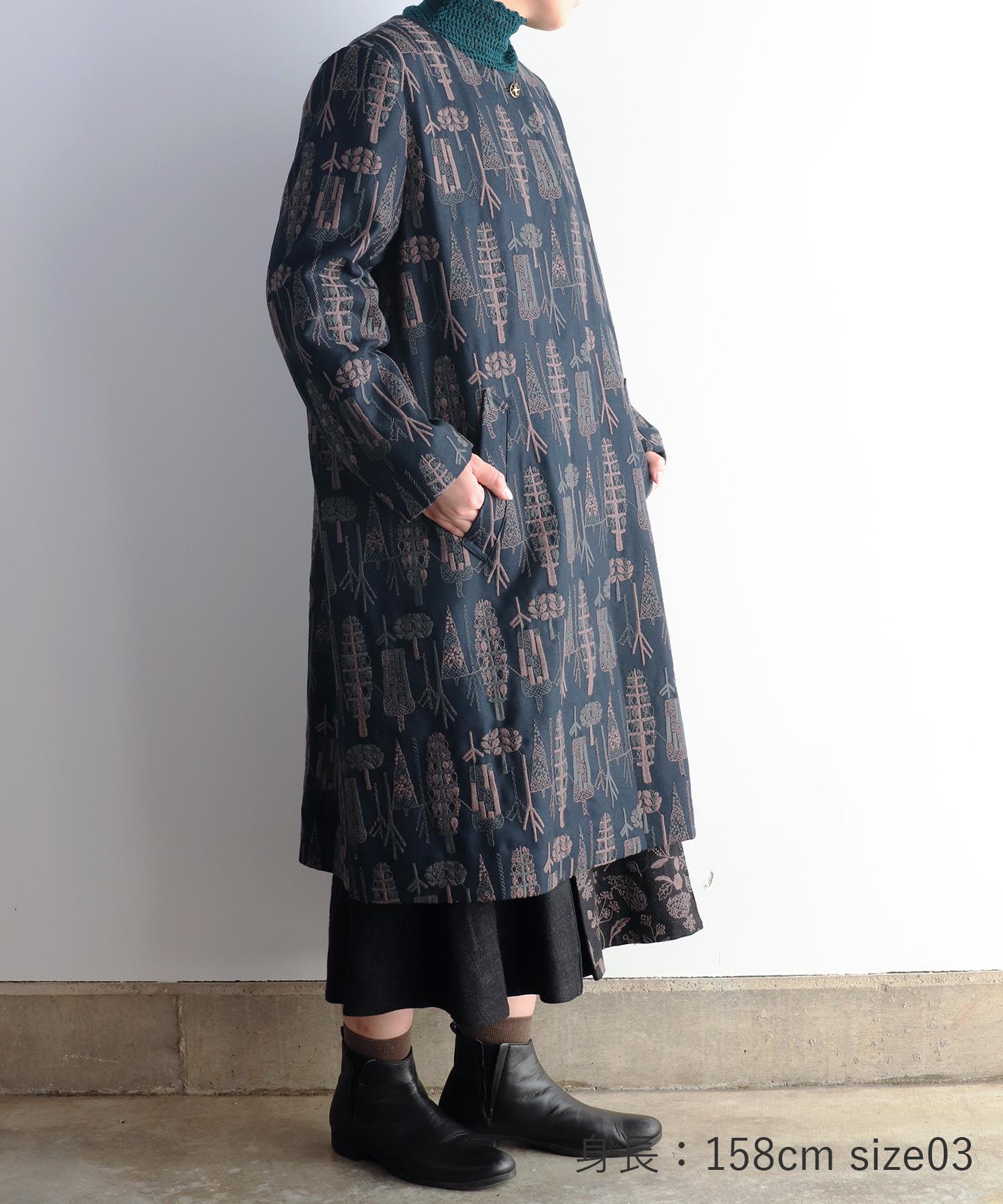 【MORI 1836】刺繍生地ノーカラーコート  (evf552  size02.03)