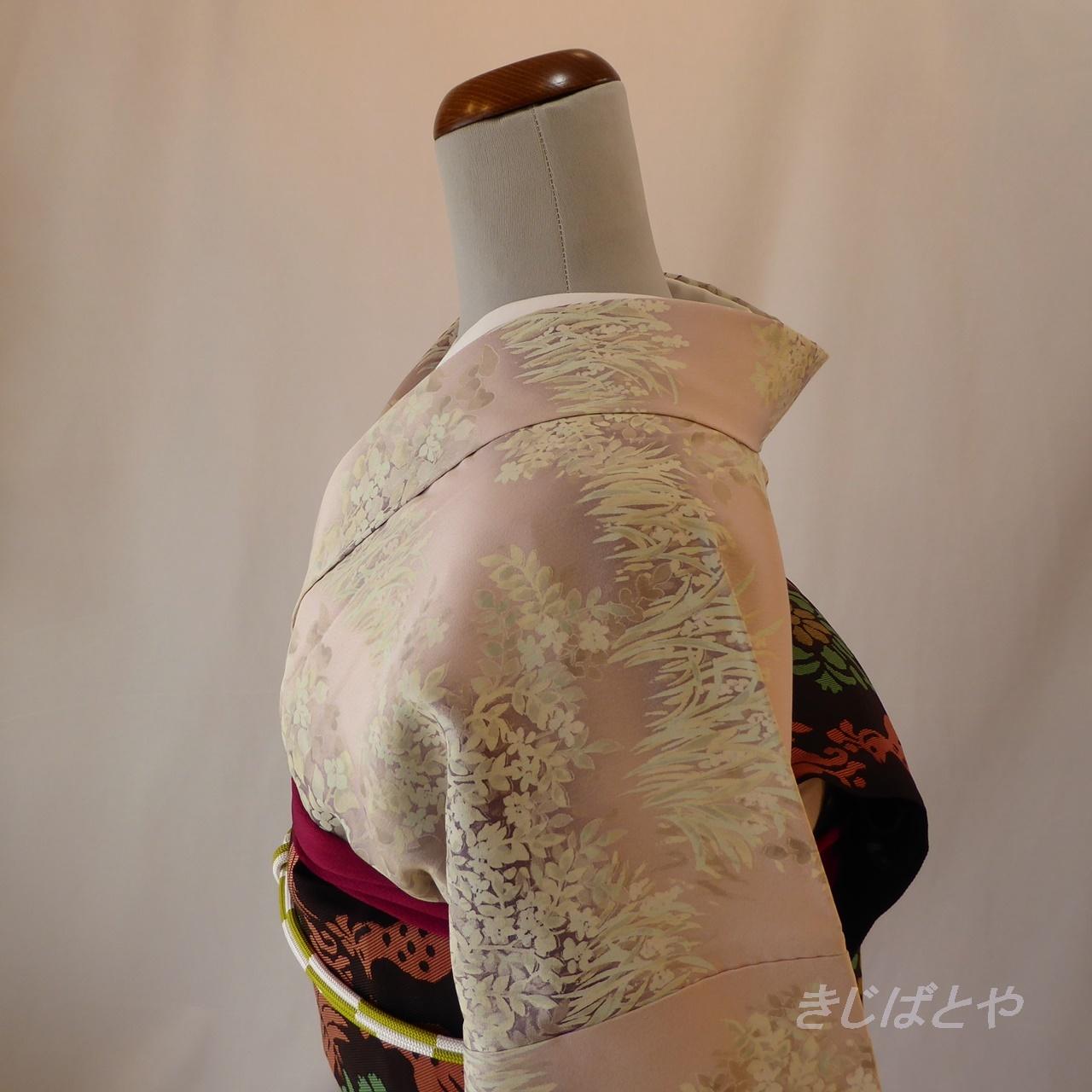 【A様ご予約品】正絹 桜色の総柄小紋 袷