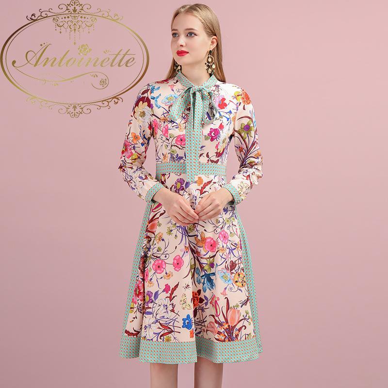Autumn Women Dress Runway Fashion Designer Long Sleeve Simple Bow Flower Printed Elegant New Ladys Dresses