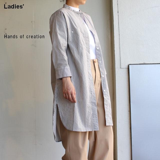 Hands of creation タイプライター8分袖チュニックシャツ ストライプ 1920620